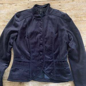 H&M blue velvet military jacket 8